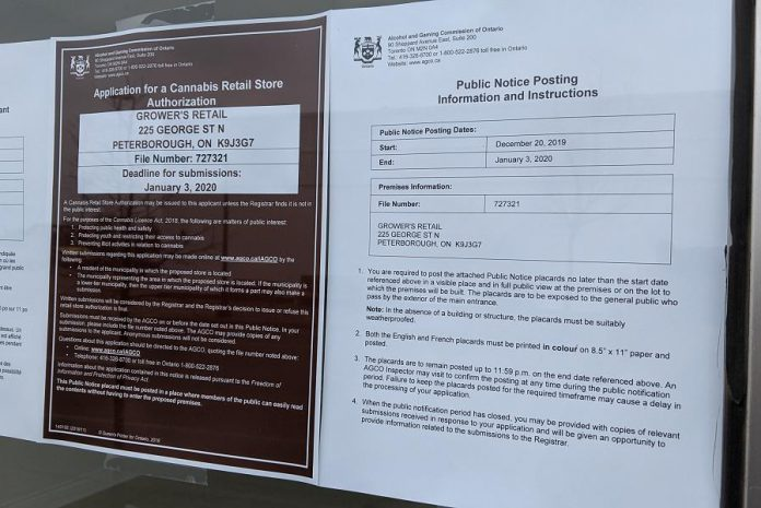 "The Alcohol and Gaming Commission of Ontario is currently reviewing an application from Huge Shops Ontario to open a ""Grower's Retail"" cannabis retail store at 225 George Street North in downtown Peterborough. A notice was posted in the window of the proposed store on December 20, 2019. (Photo: Bruce Head / kawarthaNOW.com)"