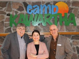 Peterborough County Warden and Douro-Dummer Township Mayor J. Murray Jones, Peterborough-Kawartha MP Maryam Monsef, and Camp Kawartha executive director Jacob Rodenburg following the announcement on January 17, 2020 of a $25,000 contribution from the federal government for a new health centre at Camp Kawartha. (Photo courtesy of office of Maryam Monsef)