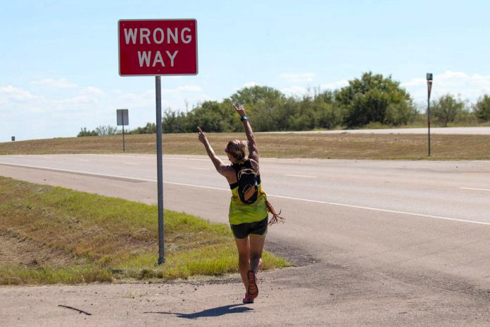Monarch Ultra co-founder and long-distance runner Carlotta James, running along the I-35 highway in Texas. She ran seven legs totalling more than 450 kilometres of the  4,300-kilometre relay run. (Photo: Rodney Fuentes)