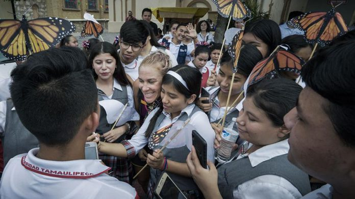The reception to welcome the Monarch Ultra runners in Reynosa, Tamaulipas in Mexico was attended by local dignitaries and hundreds of students and teachers.  (Photo: Rodney Fuentes)