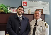 Dabbah Corp owner Waleed Dabbah and Peterborough Police Service deputy chief Tim Farquharson are both board members of the opioid addiction and homelessness advocacy group PTBOstrong. Dabbah Corp, which is a successful brokering service for payment processing machines, donated a Poynt Smart Terminal so the organization can better to track merchandise sales for fundraising. As well as supporting worthwhile community causes, Dabbah Corp is continuing to expand, with plans to hire as many as 29 more employees in 2020 as well as five students. (Photo supplied by Dabbah Corp)