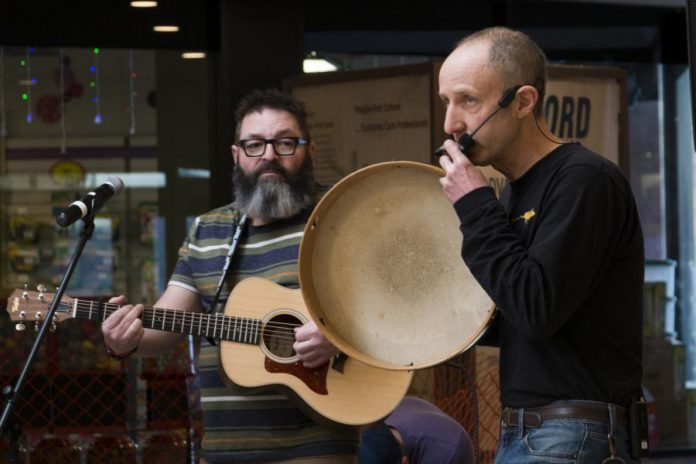 Musicians Phil Stephenson (left) and Glen Caradus are bringing their interactive Plugging Into Nature puppet show back to this year's Family Literacy Day on January 25, 2020 in Peterborough Square. (Photo courtesy of Peter Rellinger)