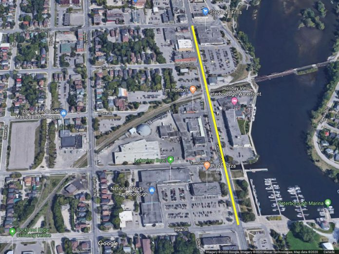This section of George Street South in downtown Peterborough between Sherbrook Street and Rink Street will be temporarily closed for a 15-minute period on January 15 and 22, 2020. (Photo: Google Maps)