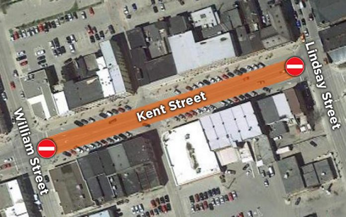 Kent Street West, between Lindsay Street and William Street in downtown Lindsay, will be closed as of January 22, 2020 for Enbridge's natural gas pipeline replacement work occurring along Kent Street over the next few weeks. (Map graphic: City of Kawartha Lakes)