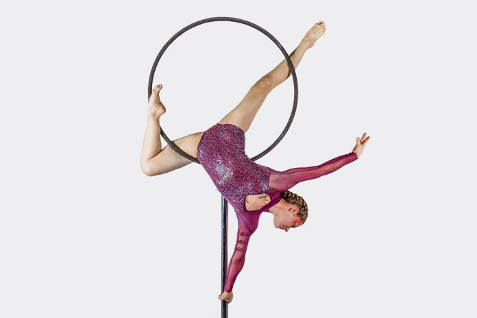 """Circus arts and acrobatics from Trellis Arts and Entertainment (pictured is director and performer Nicole Malbeuf) is one part of the theatrical variety show """"Leap 2 The Beat"""", which takes place on Leap Day (February 29, 2020) at Showplace Performance Centre in downtown Peterborough. The fundraiser for the Cardiac Catheterization Lab at Peterborough Regional Health Centre, taking place during Heart Month, will also feature dance routines by the Premiere Studio of Dance and vocal performances by Kate Suhr, Danny Bronson, Ty Wilson, Silver Lining, and Theresa Rowland-McMullen. (Photo: Kaylens Photography / kaylens.ca)"""
