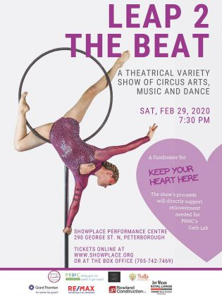 """""""Leap 2 The Beat"""" takes place on Leap Day (February 29, 2020) at Showplace Performance Centre in downtown Peterborough. It is a fundraiser for thePeterborough Regional Health Centre Foundation's 'Keep Your Heart Here' campaign to  replace and upgrade life-saving equipment at the hospital's Cardiac Catheterization Lab. (Poster supplied by Leap 2 The Beat)"""