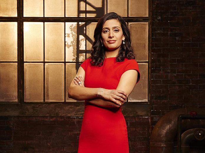 "Manjit Minhas on the set of the CBC Television series ""Dragons' Den"". Described on her website as ""mother, beer baroness, entrepreneur, Dragon"", Manjit will be speaking at the Innovation Cluster's Electric City Talks series at Showplace Performance Centre in Peterborough on March 10, 2020 in celebration of International Women's Day. The event is sponsored by Fleming College and will be free for all Fleming College students, and $10 for members of the public. (Photo: CBC)"