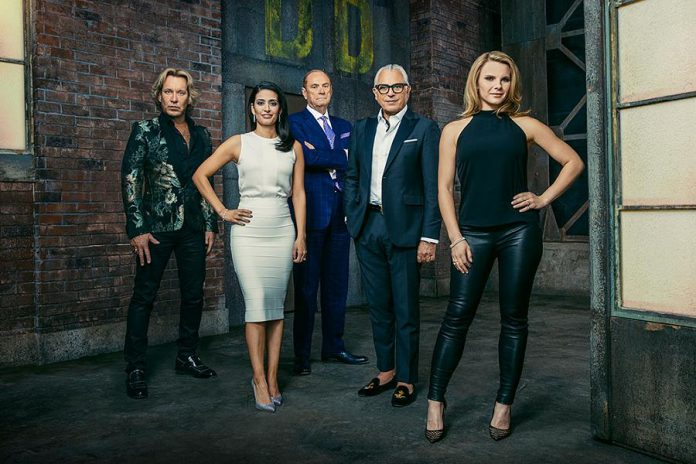 "Manjit Minhas on the set of the CBC Television series ""Dragons' Den"" with her fellow Dragons. (Photo: CBC)"