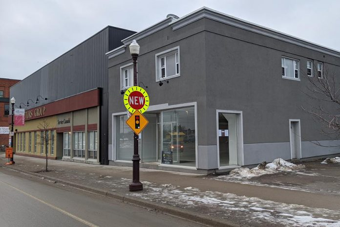 """This building at 225 George Street North, near the corner of Sherbrooke Street in downtown Peterborough, is the new proposed location of the first legal cannabis store in the Kawarthas. Toronto-based cannabis retailer Huge Shops Ontario Inc. was originally authorized to open its """"Grower's Retail"""" store in the plaza at Fowlers Corners outside the city limits, but has since applied to move the store to downtown Peterborough. (Photo: Bruce Head / kawarthaNOW.com)"""