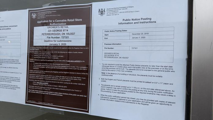 A cannabis retail store authorization application to the Alcohol and Gaming Commission of Ontario and a public notice was posted in the window of 225 George Street North in downtown Peterborough on December 20, 2019. (Photo: Bruce Head / kawarthaNOW.com)
