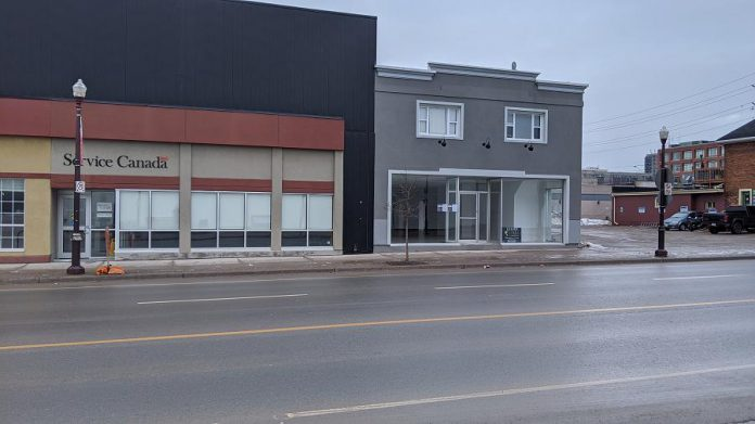 """The proposed  new """"Grower's Retail"""" retail cannabis store at 225 George Street North in downtown Peterborough is located beside the Service Canada location and across from Greg's No Frills.  (Photo: Bruce Head / kawarthaNOW.com)"""