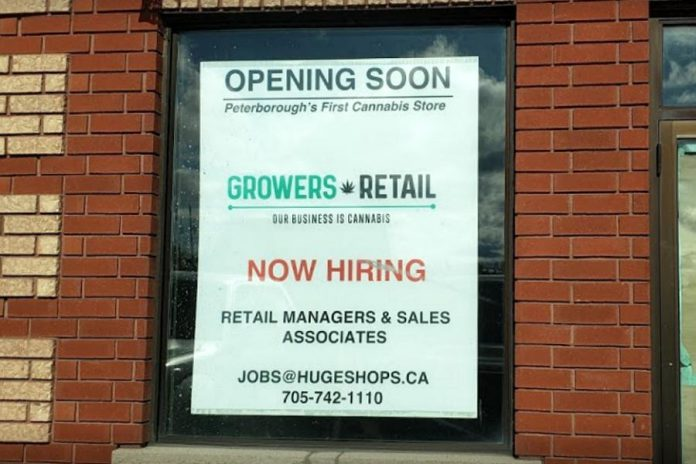 """As of December 2019, this sign was still posted in the originally proposed store location of Huge Shops' """"Grower's Retail"""" store at Fowlers Corners. Huge Shops has since applied to move the location of the store to downtown Peterborough. (Photo: Vincent Tam / Google)"""
