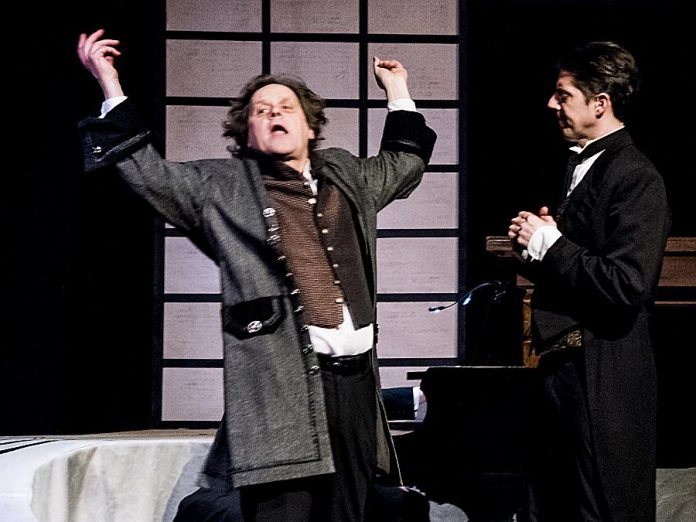"Beethoven (Christopher Spear) with his composer assistant Anton Schindler (Jason Shulha) in the Peterborough Theatre Guild's production of ""33 Variations"". The action in the play takes place both in Beethoven's time and the present, switching back and forth between the two. (Photo: Paul Macklin)"