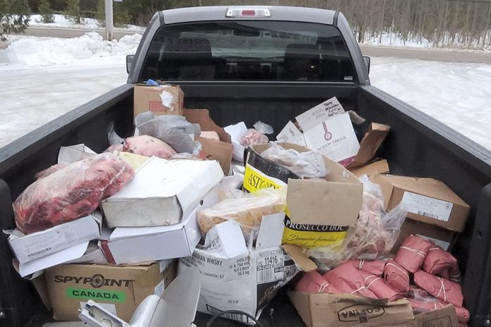 Some of the stolen meat recovered by police following thefts of more than $100,000 worth of meat from Smokey Joe's Butcher Shop and Otonabee Meat Packers in Peterborough County in January 2020. Dean Prentice of Lindsay and Terry Watson of Douro-Dummer have been arrested and charged in the thefts. (Photo: Peterborough County OPP)