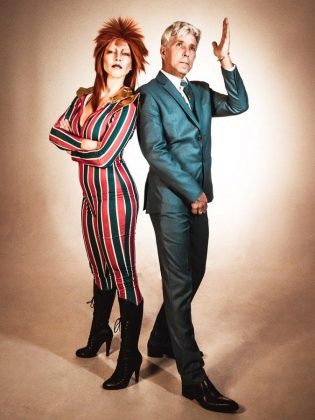 Marsala Lukianchuk and Michael Bell channeling David Bowie in a photo shoot for The Bowie Lives. This photo appears on the cover of the January 2020 edition of The Wire, the monthly tabloid Bell founded in Peterborough in the 1980s. (Photo: Samantha Moss / MossWorks)