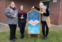 Founder Rose Wilton (left) with The Rose Project's personal care community cupboard, located behind Port Hope's Town Hall with the approval of the municipality. Designed and built out of donated materials by Courtney Sutton (middle) of Northern Revival Co., with the artwork on the back of the cupboard (pictured) created by Lee Higginson (right) of Fluke Craft, the cupboard is stocked with items such as soap, toothbrushes and toothpaste, feminine hygiene products, toilet paper, and more. The goal of the cupboard is to give people who are homeless or financially struggling access to personal care items they might not otherwise be able to afford, helping them to stay clean and healthy while allowing them to maintain their dignity. (Photo courtesy of The Rose Project)