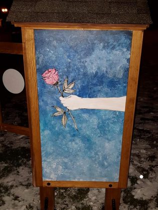Artwork by Lee Higginson of Fuke Craft on a side panel of The Rose Project's personal care community cupboard in Port Hope. (Photo courtesy of Lee Higginson)