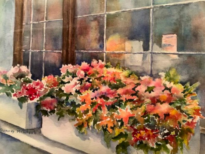 "'Window Flowerbox' (watercolour, 15""x11"") by Donrey McIntosh, one of eight watercolourists whose work will be shown and available for sale at the Watercolour8 show and sale at Singing Horse Gallery in Peterborough. The eight women are former students of Peterborough watercolourist Joan Zageris. The show opens on March 12, 2020 and runs until March 26th. (Photo courtesy of the artist)"