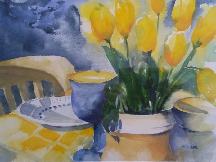 "'Set in Sun' (watercolour, 15""x11"") by Mary Tighe, one of eight watercolourists in the Watercolour8 show and sale at the Singing Horse Gallery. (Photo courtesy of the artist)"