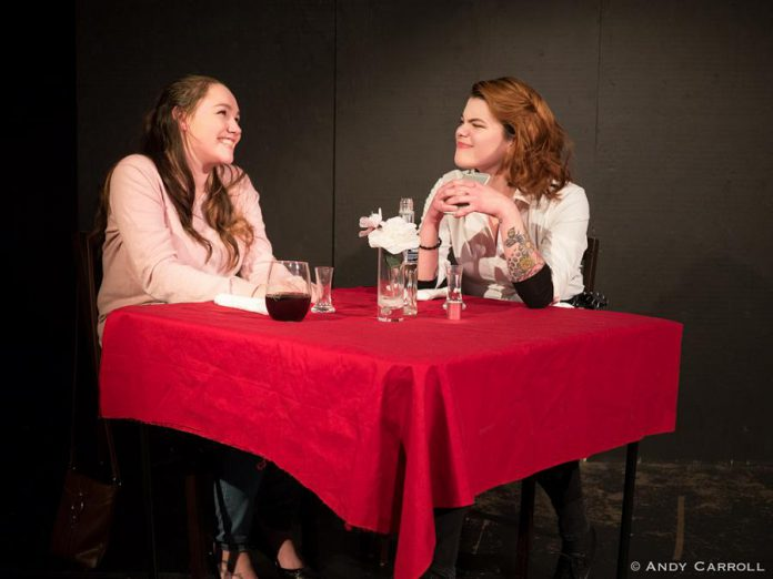 "Taytum Raven and Mads Ferris as Amy and Sarah in the Anne Shirley Theatre Company production of ""Laugh Out Loud (Cry Softly)"" at The Theatre on King in downtown Peterborough.  (Photo courtesy of Andy Carroll)"