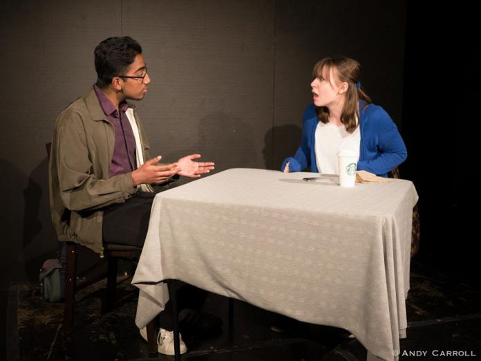 "Anand Kumar as Edward and Raquel Grobe as Rachel in the Anne Shirley Theatre Company production of ""Laugh Out Loud (Cry Softly)"" at The Theatre on King in downtown Peterborough.  (Photo courtesy of Andy Carroll)"