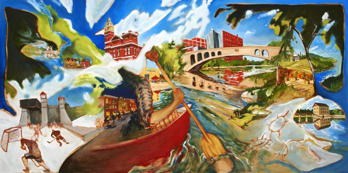 A painting of tourism attractions in Peterborough by local artist John Climenhage. (Photo courtesy of Peterborough & the Kawarthas Tourism)