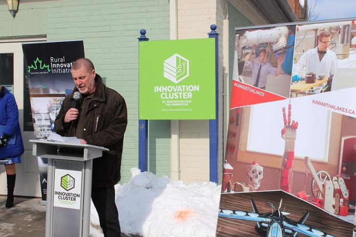 City of Kawartha Lakes mayor Andy Letham speaks at the grand opening of the new business incubator at 180 Kent Street West in downtown Lindsay on February 11, 2020. (Photo courtesy of Innovation Cluster Peterborough and The Kawarthas)