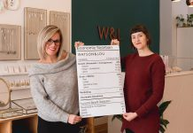 "Watson & Lou owners Erin Watson and Anna Eidt display their new ""economic nutrition label"", which is designed to show shoppers where the money they spend goes. The two entrepreneurs, whose core mission is to do retail differently, were inspired by the economic nutrition label developed by Shorefast, a registered Canadian charity on Fogo Island in Newfoundland. (Photo: Heather Doughty)"