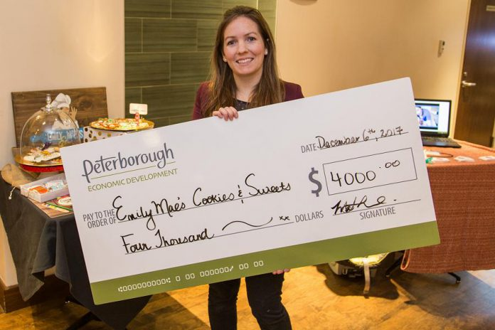 Emily Mae's Cookies & Sweets owner Jennifer Wight in 2017 with her $4,000 grant from Starter Company Plus,  a program funded by the Ontario government and administered by the Business Advisory Centre of Peterborough & the Kawarthas Economic Development. (Photo: Peterborough & the Kawarthas Economic Development)