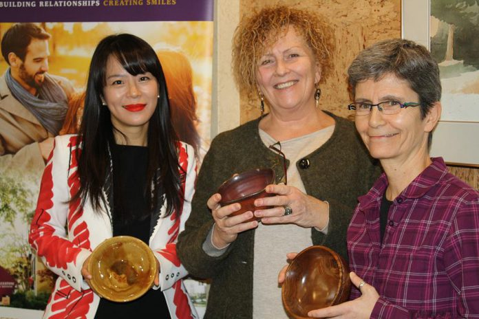 Cornerstone Family Dentistry owner Dr. Anna Jo, YWCA Peterborough Haliburton executive diector Kim Dolan, and Nourish manager Joëlle Favreau at the February 5, 2020 YWCA Empty Bowls fundraiser announcement at Cornerstone Family Dentistry. At the 16th annual event, taking place at 12 p.m. on February 28, 2020 at The Venue in downtown Peterborough, you can choose a bowl made by local artisans and enjoy food from local restaurants while supporting Nourish food programs. (Photo courtesy of YWCA Peterborough Haliburton)