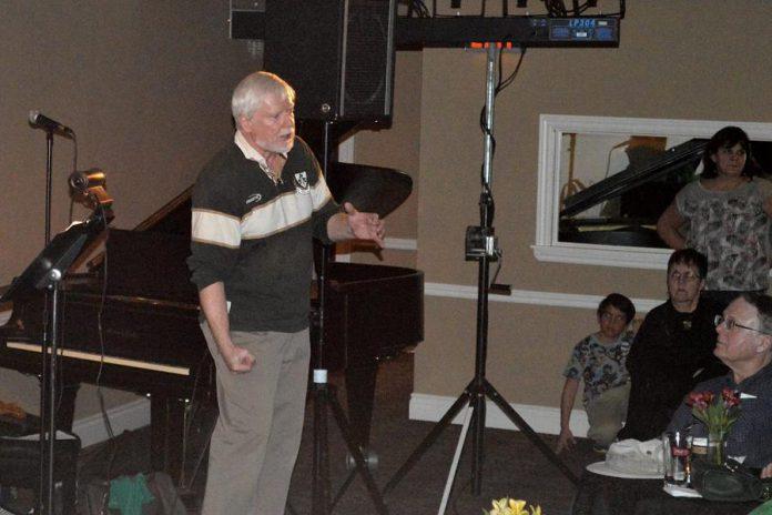 Hugh Foley sharing stories from Ireland at Foley's Irish Pub in 2016. (Photo courtesy of Theresa Foley)