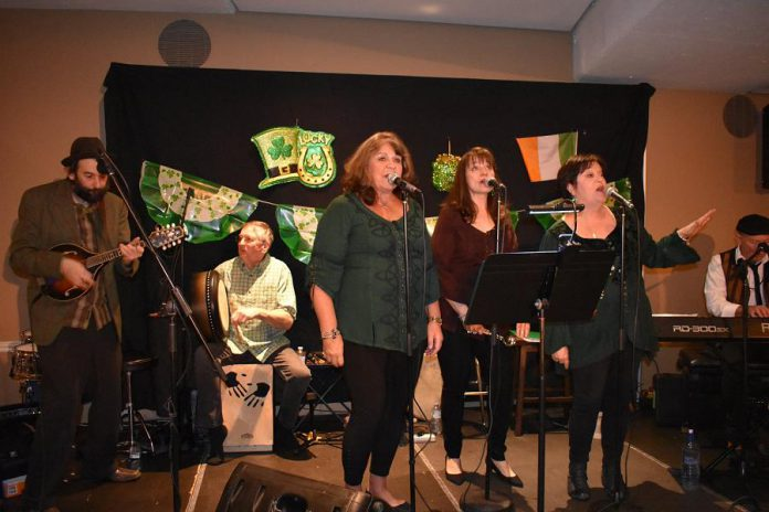 Fiddlin' Jay Edmunds, Ron Kervin, and  4 Front (Theresa Foley, Sheila Prophet, Norma Curtis, and Terry Finn) performing at Foley's Irish Pub in 2018. (Photo courtesy of Theresa Foley)