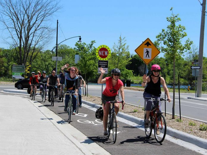 Instead of being so overwhelmed by information about climate change that we do nothing, we can instead be positive advocates for climate action, such as by encouraging forms of transportation that do not emit C02. Evidence in Peterborough shows that investments in more bike infrastructure, such as Peterborough's first protected bike lane that was installed in 2019, can positively impact our transportation system. Geographically, Peterborough is fairly compact and an ideal city for biking. Surveys show that we travel a median distance of 2.7 kilometre per trip on weekdays, and 73 per cent of all our trips made are less than five kilometres. (Photo courtesy of GreenUP)