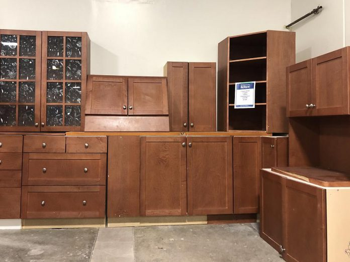 Habitat Peterborough's kitchen removal experts will remove your unwanted kitchen cabinetry or pick up your already disassembled cabinetry, free of charge.  (Photo courtesy of Habitat for Humanity Peterborough & Kawartha Region)
