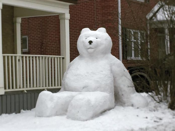This photo taken by Allison MacGregor, of a snowbear in created by Jon Kolodziej and Dana Beren Watts outside their home in downtown Peterborough, was one of two comprising the top post on our Instagram in January 2020. (Photo: Allison MacGregor @allison.macgregor / Instagram)