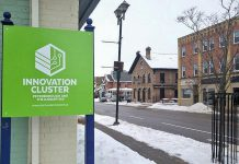 The new business incubator, located at 180 Kent Street West in downtown Lindsay, is part of a joint pilot project of the Innovation Cluster Peterborough and The Kawarthas and the City of Kawartha Lakes to support startups in Kawartha Lakes. It was officially opened during a launch and open house event on February 11, 2020. (Photo courtesy of Innovation Cluster)