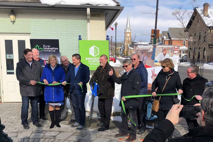 The ribbon-cutting ceremony for the new Kawartha Lakes business incubator, at 180 Kent Street West in downtown Lindsay on February 11, 2020, was attended by dignitaries including Kawartha Lakes mayor Andy Letham, Innovation Cluster president and CEO John Gillis, former Innovation Cluster president and CEO Mike Skinner, Haliburton-Kawartha Lakes-Brock MPP Laurie Scott and MP Jamie Schamle, and Kawartha Lakes Community Futures Development Corporation chair Jil Quast. (Photo courtesy of Innovation Cluster)