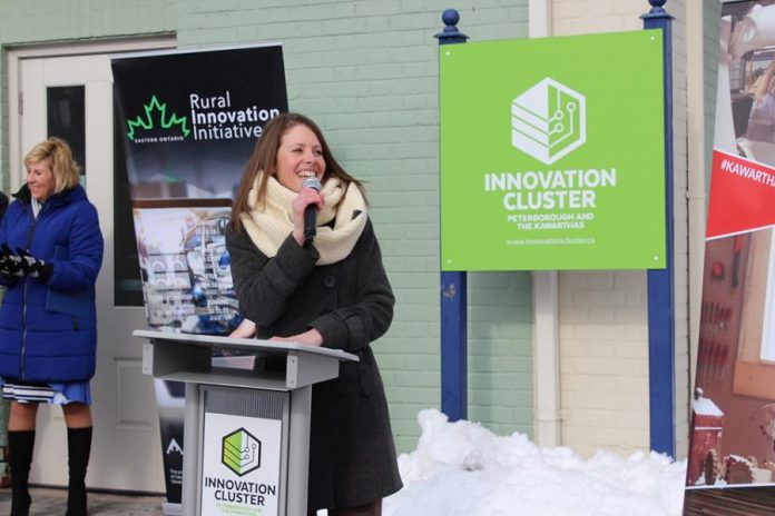 Rebecca Mustard, manager of Economic Development at City of Kawartha Lakes, makes remarks at the official launch of the new Kawartha Lakes business incubator at 180 Kent Street West in downtown Lindsay on February 11, 2020. (Photo courtesy of Innovation Cluster)