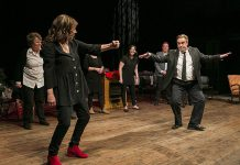 "Linda Kash and Patrick McKenna perform an audience-selected improv scene as Deborah Kimmett, Meg Murphy, and Paul Constable look on during klusterfork entertainment's debut sold-out comedy show at Market Hall Performing Arts Centre in downtown Peterborough on November 22, 2019. klusterfork returns to the Market Hall on February 21, 2020 with ""klusterfork It's Winter! Still."" featuring Second City alumni Geri Hall from ""This Hour Has 22 Minutes"", Lisa Merchant, Ed Sahely, and Linda Kash and local performers Pat Maitland, Meg Murphy, and Andrew Root with special musical guest Dan Fewings. (Photo: Marlon Hazelwood / Hazelwood Images)"