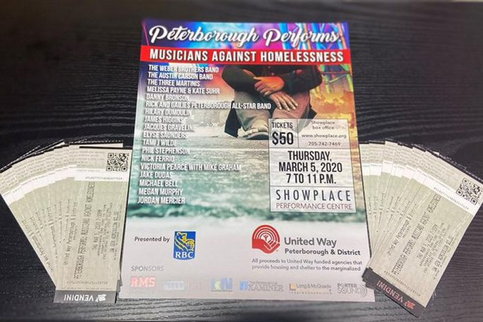'Peterborough Performs: Musicians Against Homelessness', taking place on March 5, 2020 at Showplace Performance Centre, features 16 musical acts raising funds for United Way Peterborough & District. The event will be emceed by Megan Murphy and Jordan Mercier, with all proceeds going exclusively toward homelessness and shelter-related initiatives undertaken by United Way-supported agencies. (Photo: United Way Peterborough & District)