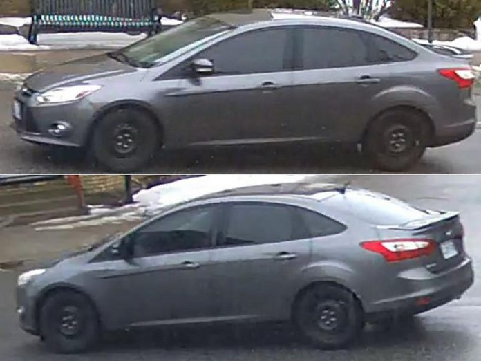 Police are seeking the public's help in identifying this vehicle of interest in connection with the shooting death of 18-year-old Alex Tobin of Omemee on February 18, 2020. The Grey Ford Focus was last seen westbound on Highway 7 in Omemee shortly after the shooting at 1 p.m. (Supplied photos)