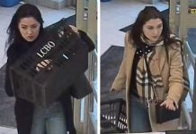 "Two surveillance photographs from a bulletin on the Peterborough Police Service's ""persons of interest"" web page. These photographs are related to occurrence RM20000128 (theft) from January 8, 2020. (Photos: Peterborough Police Service)"