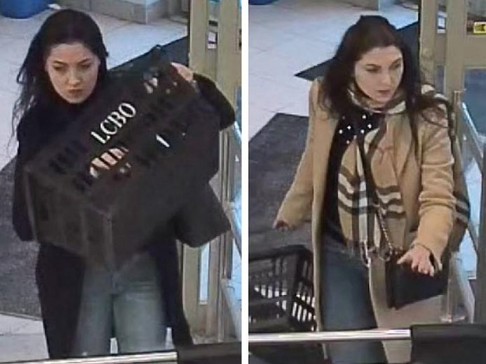 """Two surveillance photographs from a bulletin on the Peterborough Police Service's """"persons of interest"""" web page. These photographs are related to occurrence RM20000128 (theft) from January 8, 2020. (Photos: Peterborough Police Service)"""