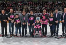 The puck drop at the 11th annual Pink in the Rink at the Peterborough Memorial Centre on February 1, 2020. The game, which saw the Petes defeat the Oshawa Generals in front of a sold-out crowd, raised $88,300 for women's cancer research. (Photo: Jessica Van Staalduinen / Peterborough Petes)