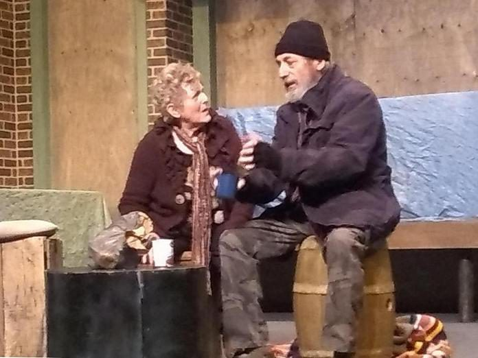 """Gillian Wilson as Lilly and and Jack Roe as Sam in the Peterborough Theatre Guild production of """"Frozen Dreams"""", written and directed by Robert Ainsworth. Gillian and Jack reprise the roles they performed when the play premiered at Peterborough Theatre Guild in 2003.  (Photo: Sam Tweedle / kawarthaNOW.com)"""
