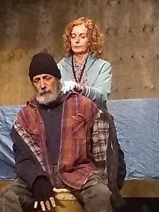 """Sheila Charleton as Ginny and Jack Roe as Sam in a scene from the Peterborough Theatre Guild production of """"Frozen Dreams"""", written and directed by Robert Ainsworth.  (Photo: Sam Tweedle / kawarthaNOW.com)"""