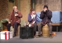 "Keith Goranson as Harry, Tyrnan O'Driscoll as Rainman, and Jack Roe as Harry in the Peterborough Theatre Guild production of ""Frozen Dreams"", written and directed by Robert Ainsworth. The critically acclaimed play, often referred to as ""the play about the homeless people and the turkey"", runs at the Guild Hall in Peterborough from February 21 to March 7, 2020. (Photo: Sam Tweedle / kawarthaNOW.com)"