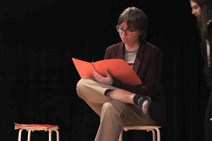 "In Enter Stage Right's production of Amanda Murray Cutalo's one-act comedy ""Typecast"", Julian Pawchuk plays Will ""The Politician"", one of the student actors cast against type in a high school play. (Photo: Dakota Hamilton)"
