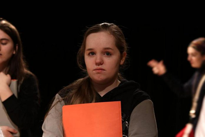 "In Enter Stage Right's production of Amanda Murray Cutalo's one-act comedy ""Typecast"", Eden Farris plays  Audrey ""The Ensemble Girl"", one of the student actors cast against type in a high school play. (Photo: Dakota Hamilton)"