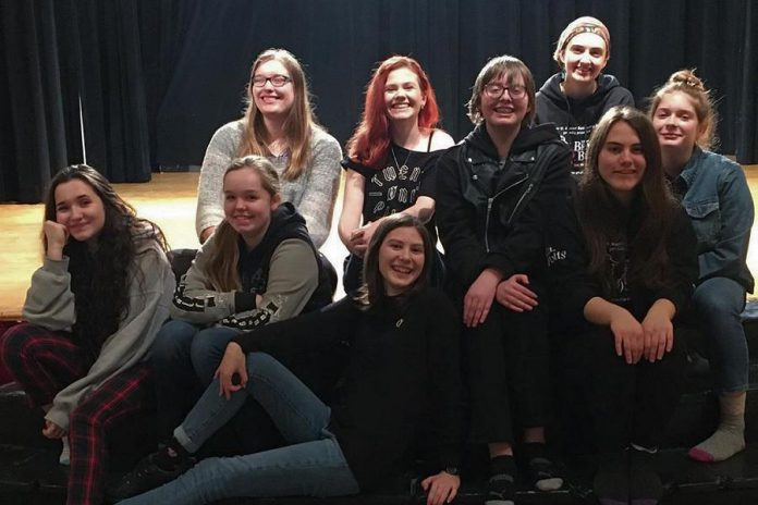 "The cast of Enter Stage Right's production of Amanda Murray Cutalo's one-act comedy ""Typecast"". Front, left to right: Meagan Hewie, Eden Farris, Annika Goeckel, Julian Pawchuk, and Lena Ross. Back, left to right: Jenny Berry, Alexis Mantler, Taite Cullen, and Aisling MacQuarrie. (Photo courtesy of Greg Nugent)"